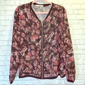MAURICES Sheer Floral Zip Up Jacket